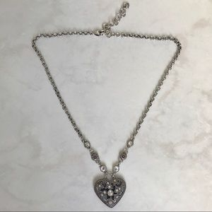 """Brighton heart necklace with crystals, 18"""" chain"""